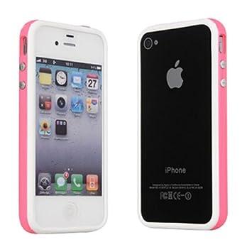 bbaa704ed3b Ultra Calidad iPhone 4 G 4S Rosa y Blanco TPU Marco de Parachoques de Goma  Funda W Botones de Metal para iPhone 4 G 4S por TB1 Productos®: Amazon.es:  ...