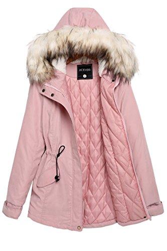 ACEVOG Abrigos Mujer parka de invierno con Capucha de Pelo Chaqueta de Algodon Rosa