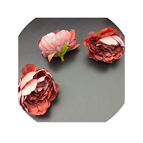 Sweet-Candy artifical flowers 5 pcs Artificial Rose Flower Heads for Flower Walls Wedding Home Decorations DIY Christmas Wreath Crafts Silk Peony Flower Heads,Rose red ()