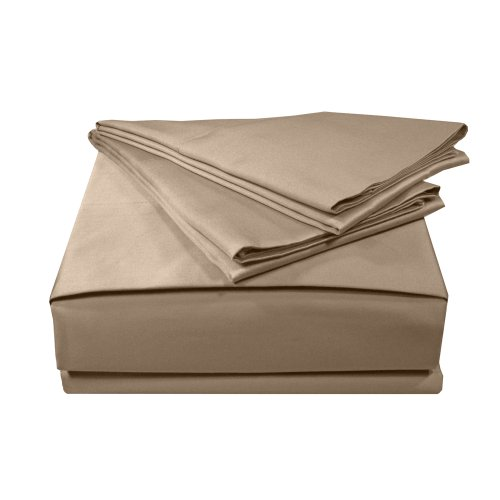- MADE IN THE USA 300TC 100% Cotton Sateen Solid Sheet Set, Queen, Taupe By Veratex