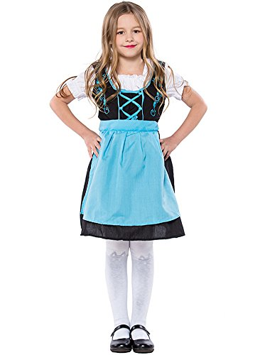 Joygown Girl's Oktoberfest Blue Halloween German Beer Bar Maid Costume XL -