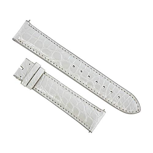 Swiss Watch International 20 MM White Pearl Genuine Alligator Strap -