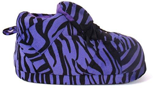 Happy Feet Mens Och Womens Vanliga Gymnastik Tofflor Lila Zebra