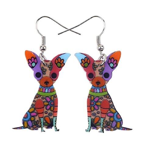 [Hot sale! Fashion Big Long Animal Acrylic Dangle Drop Chihuahua Dog Earrings 2017 News Style Fashion Jewelry For Girls Women] (1980s Costume Jewellery)