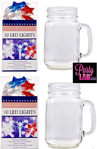 4th of July Table Centerpiece (2) Star-Shaped Battery - Operated LED String Lights + (2) 16 oz Mason Jar Displays Party Lab 365 (4 Items Total)