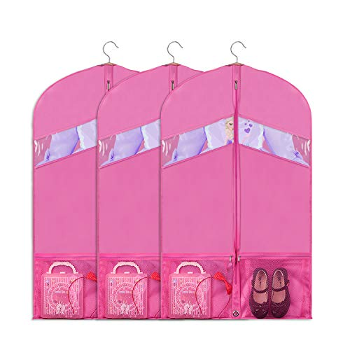 Univivi Dance Costume Bags Foldable 36 inch for Dance Competitions Garment Bag, with 2 Zipper Mesh Pockets and Clear Window, for Storage or Travel Set of 3 (Pink)