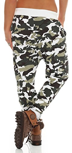 malito Urban Camouflage Boyfriend Pantalón Sweatpants Fitness Harem Aladin Bombacho Sudadera Baggy Yoga 3307 Mujer Talla Única blanco