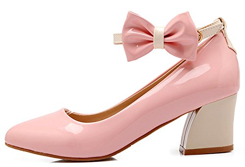 Mid Shoes Womens Bow Pumps Pointy Sweet Ankle Heels Pink Chunky Strap IDIFU With Toe 8fvwIxdIq