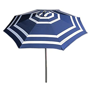 VMI 9' Wide Striped Aluminum Adjustable Umbrella with Crank, Navy Blue and White