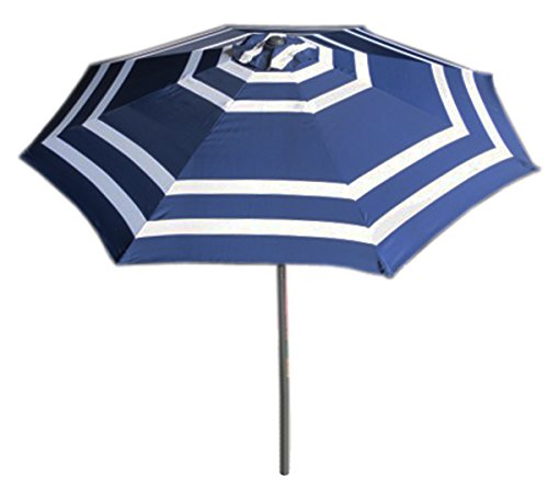 VMI 9 Wide Striped Aluminum Adjustable Umbrella with Crank, Navy Blue and White