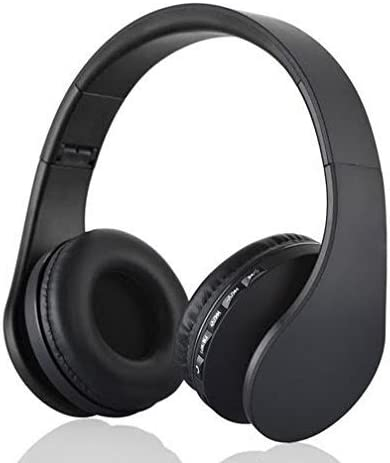 Bluetooth Headphones Hi Fi Stereo Wireless Headset, Built in Mic & Foldable Light Weight - On Ear - Design By Morelli Rogue Line (BLACK/BLACK)