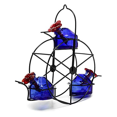 BestNest Parasol Ferris Wheel Hummingbird Feeder, Blue, 10.5 oz. - Exhart Bird Feeder