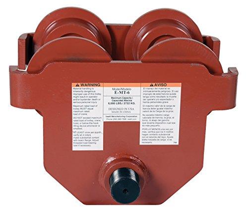Vestil E-MT-6 Steel Low Profile Eye Manual Push Trolley, 6000 lbs Capacity, 3''- 8-5/8'' I-Beam Flange, 3-3/8'' Headroom by Vestil (Image #4)