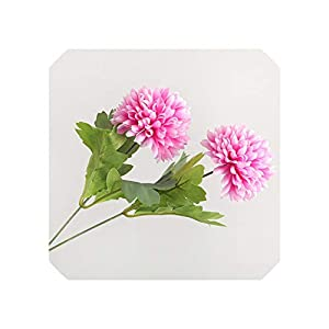 Liliy-luckly 2 Heads Ping Pong Ball Dandelion Flower Branch Silk Artificial Flowers for Wedding Decoration,Rose Pink 7