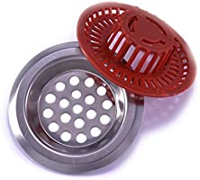 203046 Sink drain filters 2 pcs 60mm metal and red MyHomeHelper