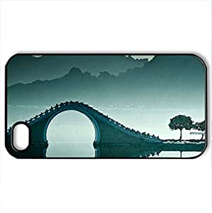 Bridge in the blue - Case Cover for iPhone 4 and 4s (Bridges Series, Watercolor style, Black)