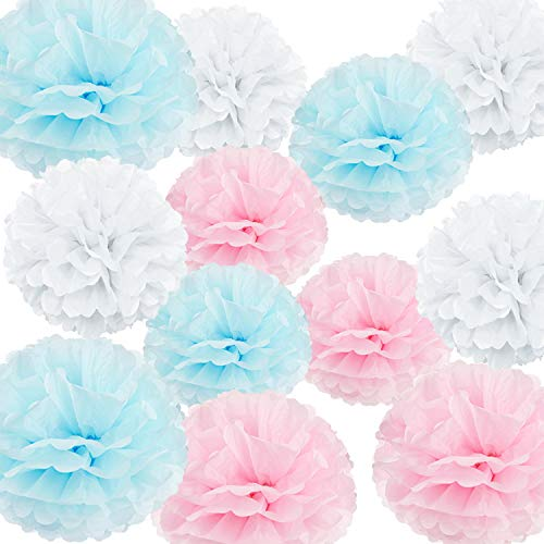 """HappyField 12PCS 10"""" 12"""" Baby Pink Blue White Tissue Paper Pom Poms Flower Gender Reveal Party Supplies Gender Reveal Party Decorations Boy or Girl Baby Shower Decorations Pink and Blue -"""