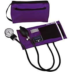 MABIS MatchMates Aneroid Sphygmomanometer Manual Blood Pressure Monitor Kit with Calibrated Nylon Cuff and Carrying Case, Purple