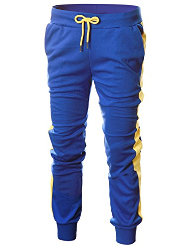 - OHOO Mens Slim Fit Lightweight Training Active Sweat Jogger Pant with Color Trims/DCA017-BLUE/YELLOW-L