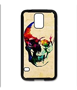 Samsung Galaxy S5 SV Black Rubber Silicone Case - Colorful Skull Painting Cool