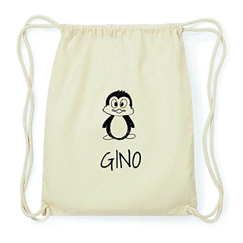 JOllipets GINO Hipster Turnbeutel Tasche Rucksack aus Baumwolle Design: Pinguin Hh8LsILl3u
