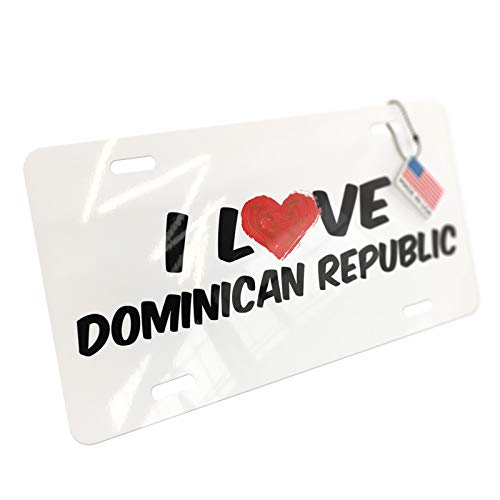 NEONBLOND I Love Dominican Republic Aluminum License Plate