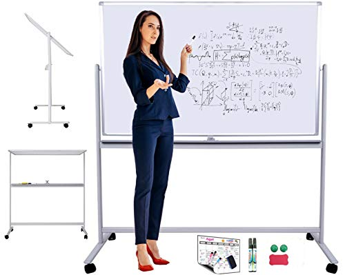 Mobile Magnetic Whiteboard or Dry Erase Board, Rolling Whiteboard on Wheels with Stand 48in(W) x 32in(H) for Large, Small Office, School Presentations. Portable Double Sided Whiteboard