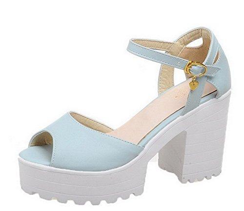 VogueZone009 Women High-Heels Solid Open Toe Sandals, CCALO012352 Acidblue