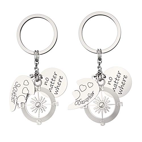 - 2pcs Best Friends Keychain Keyrings Set Letter Tag Charms Compass Split Love Heart Charm Long Distance Friendship Gift Unisex - No Matter Where