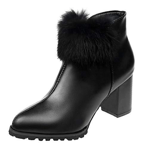 Black US6.5-7   EU37   UK4.5-5   CN37 Black US6.5-7   EU37   UK4.5-5   CN37 Women's Fashion Boots PU Fall Casual Boots Chunky Heel Booties Ankle Boots Pom-pom Black Wine