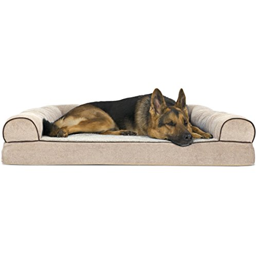 FurHaven Pet Dog Bed | Orthopedic Faux Fleece & Chenille Soft Woven Sofa-Style Couch Pet Bed for Dogs & Cats, Cream, Jumbo