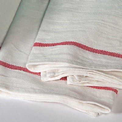 12 NEW HERRINGBONE NON TERRY TOWELS LINT FREE RED STRIPE 100% (Barber Stripe)