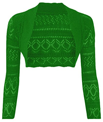 Thever Women Long Sleeve Knitted Crochet Shrug Bolero Cardigan Ladies Crop Top (One SZ(6-12), Jade)