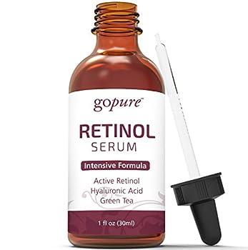 goPure Retinol Facial Serum - Active Retinol with Organic Aloe, Green Tea and Hyaluronic Acid