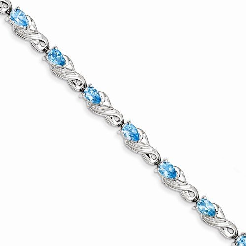 Solid 925 Sterling Silver Highest Quality December Simulated Birthstone Blue Simulated Topaz Tennis Bracelet - with Secure Lobster Lock Clasp 7'' by Sonia Jewels
