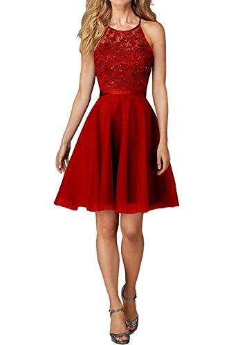 Cocktailkleider brautjungefern Spitze Abendkleider Damen Braut Marie Jugendweihe Promkleider Rot Kleider Kleider Knielang La 4fTvzOn