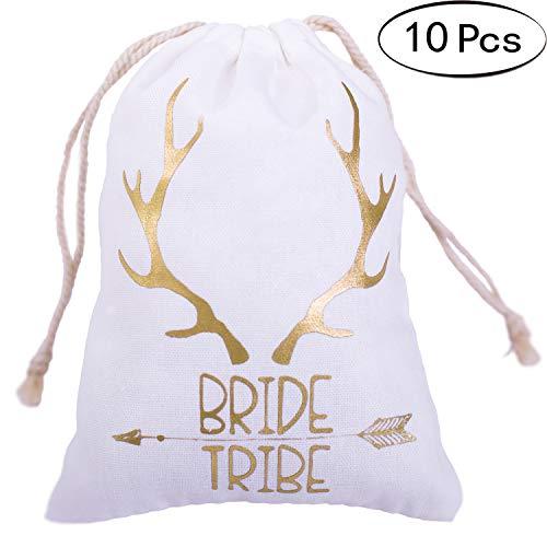 Letjolt 10 Pcs Gold Foil Bride Tribe Bridesmaid Gift Bags 5x7 inch Bachelorette Party Favor Bags Wedding Party Hangovers Bags for Bachelorette Hangover Party Bride Gift Bags for Bridal Shower