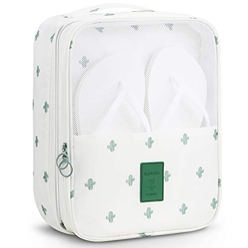 Travel Shoe Bag,Mossio Simple 3-Compartment Storage Packing Cube White Cactus