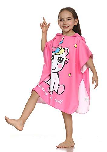 - SpunKo Pink Unicorn Hooded Beach Bath Towels for Kids 1-6 Years Old Soft Microfiber Fun Poncho Towels Bathrobe Gift for Big Girls Boys Toddlers for Swimming Bathroom Travel