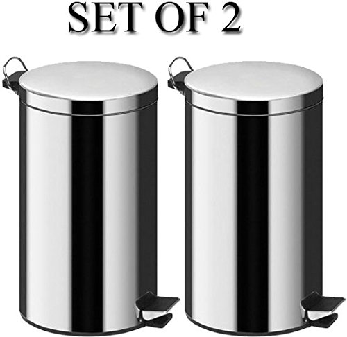 Denny International 3L Silver Pedal Bin Stainless Steel Kitchen Bathroom Toilet Rubbish Set of 2 Denny International®