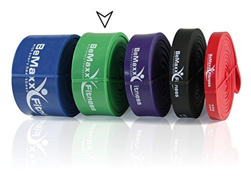 Klimmzughilfe Pull Up Resistance Bands von BeMaxx Fitness + Bonus Trainingsguide - DAS Powerlifting Widerstandsband - Klimmzugband für Ganz-Körper-Workout, Krafttraining, CrossFit, Stretching, Yoga (Grün)