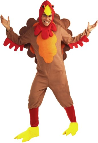 [Forum Novelties Men's Adult Fleece Turkey Costume, Brown/Yellow/Red, Standard] (Turkey Costumes)