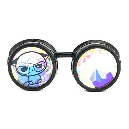 UMBRELLALABORATORY 3D Rainbow Prism Kaleidoscope Rave Glasses, Diffraction Steampunk Funny Goggles, Black, Cute Grumpy Cat Costume Accessories - Headband - Necklace]()