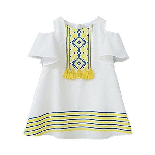 Sandals Holiday Womens (Nevera Baby Dress,2018 Hot Sale!Baby Girls Boho Print Cold Shoulder Tassel Princess Dresses (3T, White))