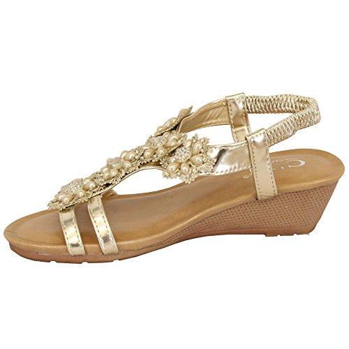 MCM Ladies Wedge Heel Sandals Slip On Womens Open Toe Sling Back Diamante Shoes New Gold - 39923 xg54dhkAZQ
