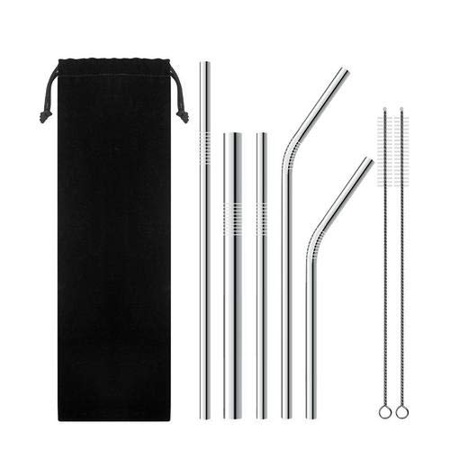 Stainless Steel Straws, ACUMSTE Set of 5 Reusable Metal Drinking Straw with 2 Cleaning Brushes and Bonus Pouch 2 Straight, 2 Bent, 1 Extra Wide, Sliver Smooth Edge Design Stainless Steel Straws for Smoothie, Milkshake, Cocktail, Cold Beverage and Hot Drink