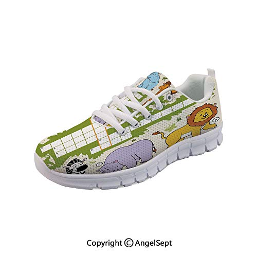 SfeatruAngel Lightweight Casual Crossword Game for Children Safari Breathable Mesh Shoes