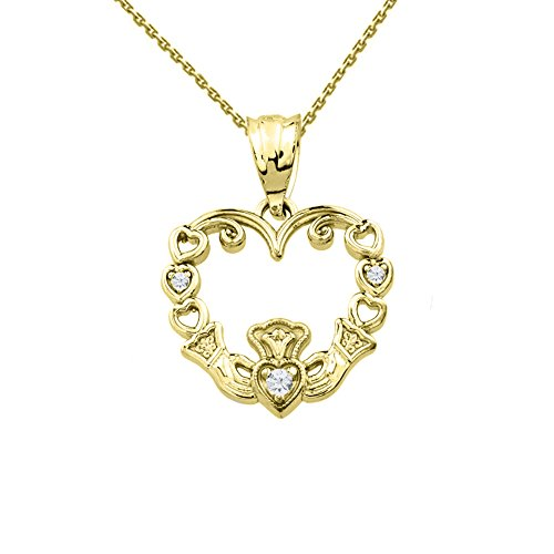 - Fine 14k Claddagh Heart Pendant Necklace with Diamond in Yellow Gold with 20