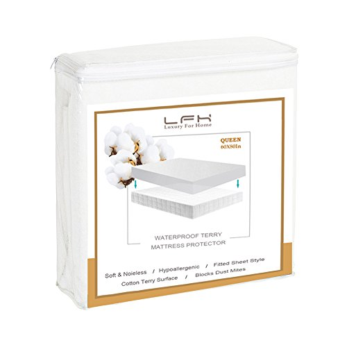 LFH 100% Waterproof King Size Mattress Protector Hypoallergenic, Dust Mite Protection, Machine Washable and Breathable – Premium Mattress Cover-Vinyl Free