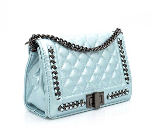HELLO BAG BY MODE & VOGUE - Bolso cruzados para mujer Blanco blanco Bleu Clair Métal